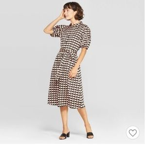 Who What Wear Puff Sleeved Midi Wrap Dress, Medium